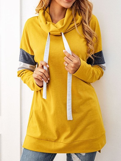 Color Block Long Sleeve Plain Womens Hoodie Color Block Long Sleeve Plain Women's Hoodie