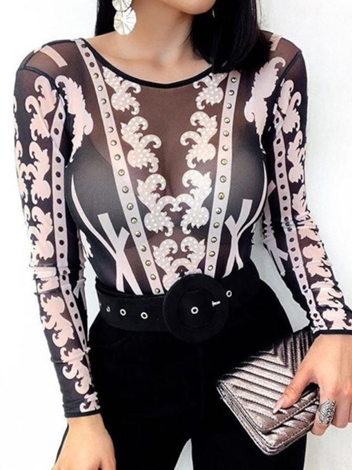 See-Through Long Sleeve Women's Blouse