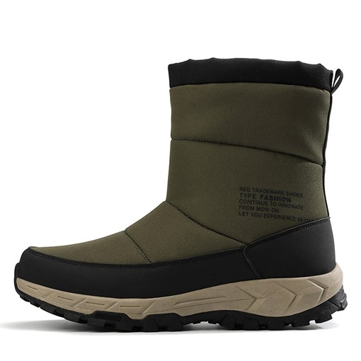 Side Zipper Round Toe Mesh Men's Snow Boots