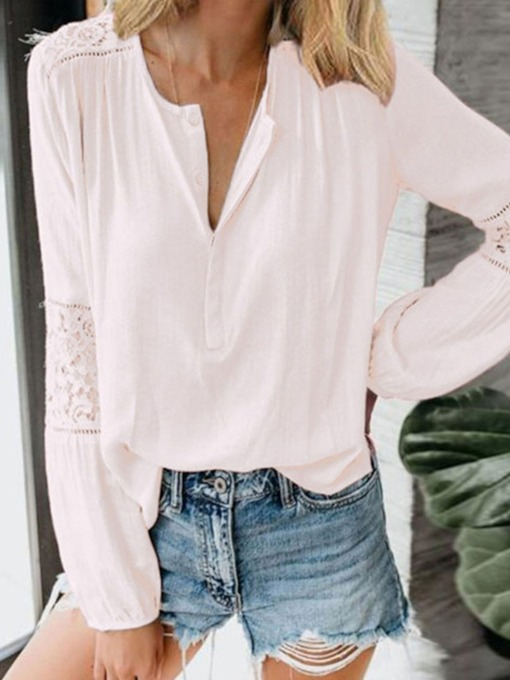 Plain V-Neck Regular Patchwork Mid-Length Women's Blouse