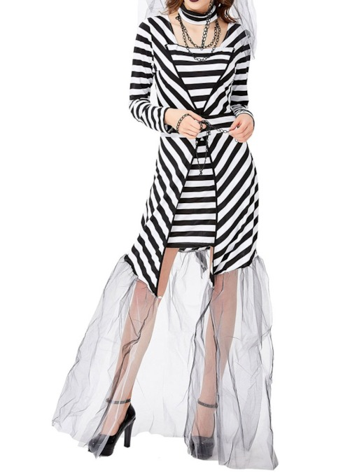 Patchwork Stripe Western Long Sleeve Cotton Blends Women's Costumes
