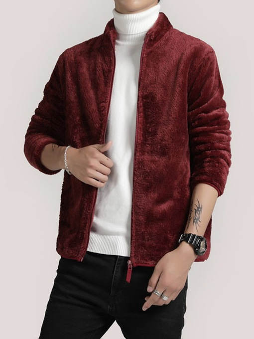 Zipper Stand Collar Plain European Men's Jacket