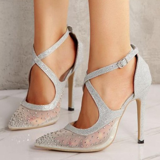 Buckle Stiletto Heel Pointed Toe Rhinestone Prom Sandals