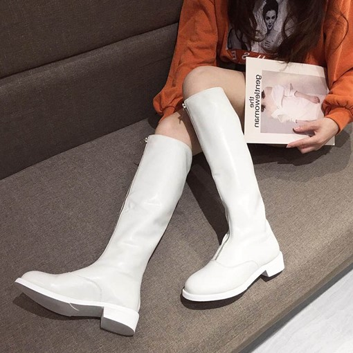 Block Heel Round Toe Plain Front Zipper Knee High Boots
