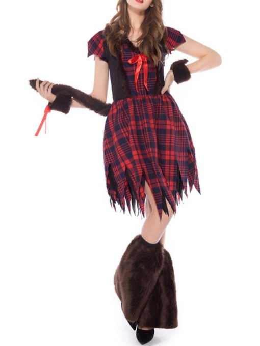 Plaid Pleated Short Sleeve Western Classic Halloween Women's Costumes
