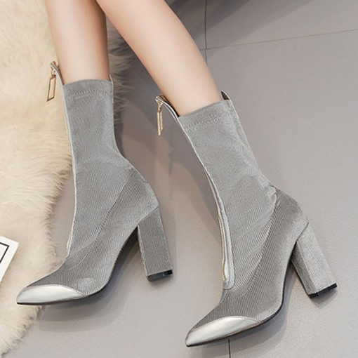 Pointed Toe Front Zipper Chunky Heel Patchwork Ankle Boots