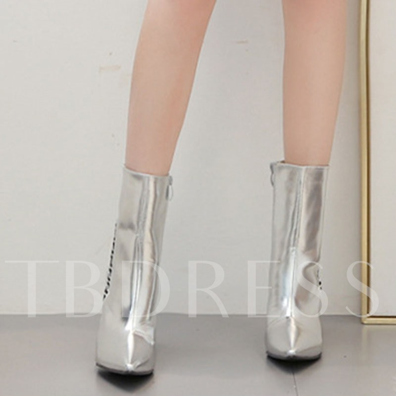 Chunky Heel Pointed Toe Side Zipper Color Block Ankle Boots