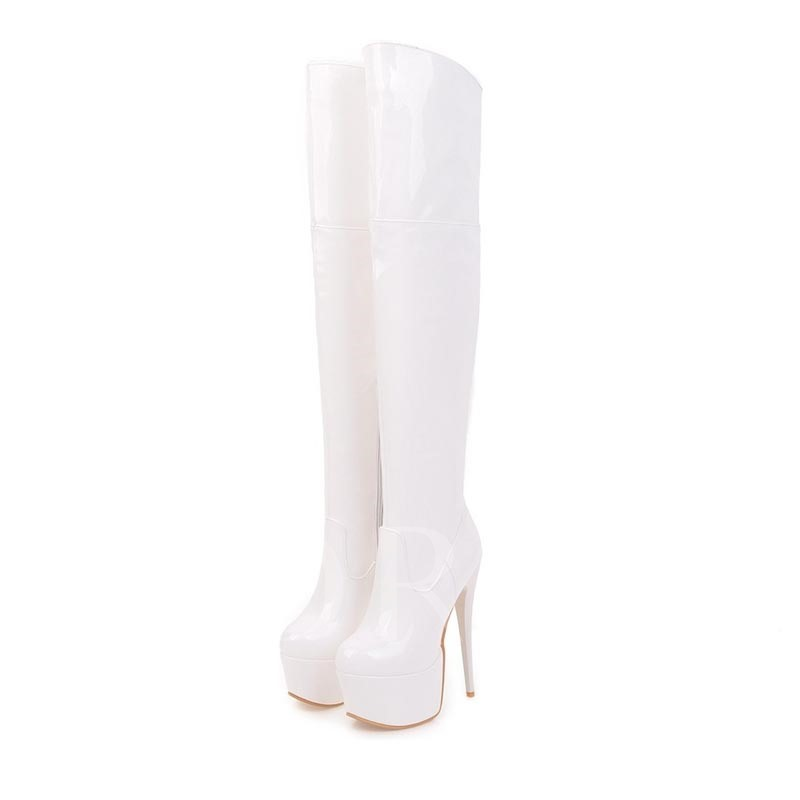 Stiletto Heel Round Toe Short Floss Thigh Platform High Boots