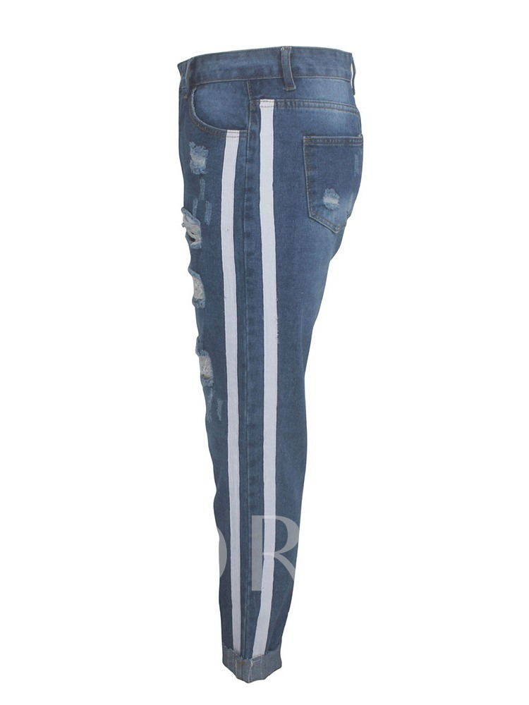 Stripe Hole Slim Women's Jeans