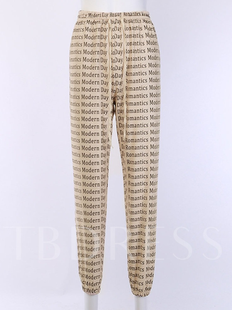Print Slim Letter Harem Pants Women's Casual Pants