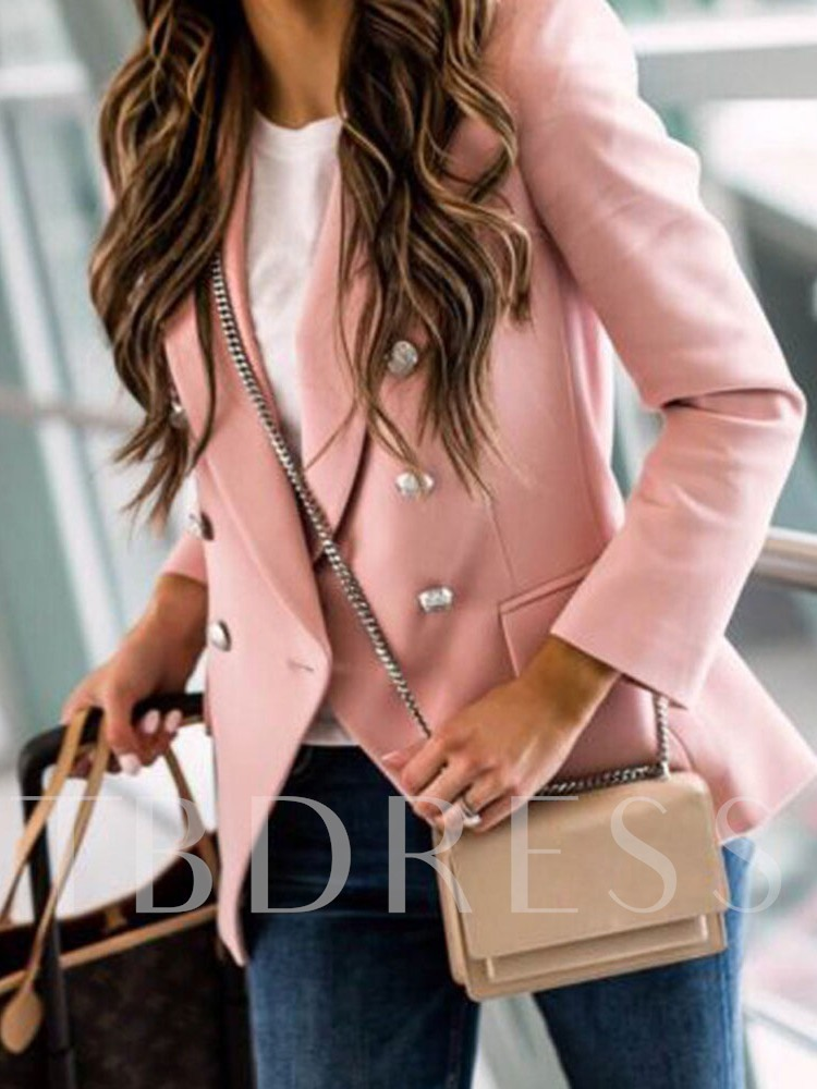 Long Sleeve Notched Lapel Plain Double-Breasted Standard Women's Casual Blazer