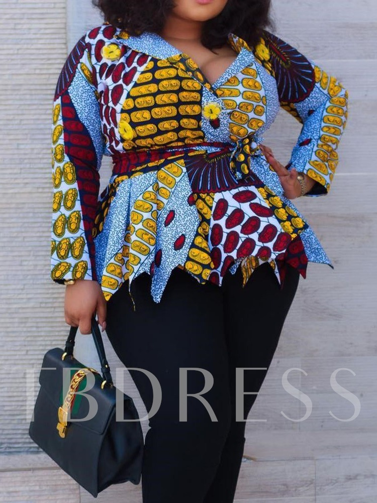Plus Size Print V-Neck Geometric Standard Women's Blouse