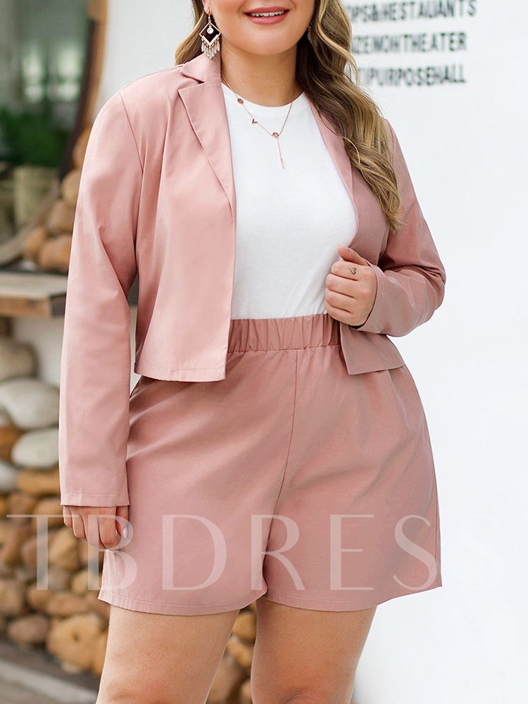Plus Size Plain Shorts Notched Lapel Women's Two Piece Sets