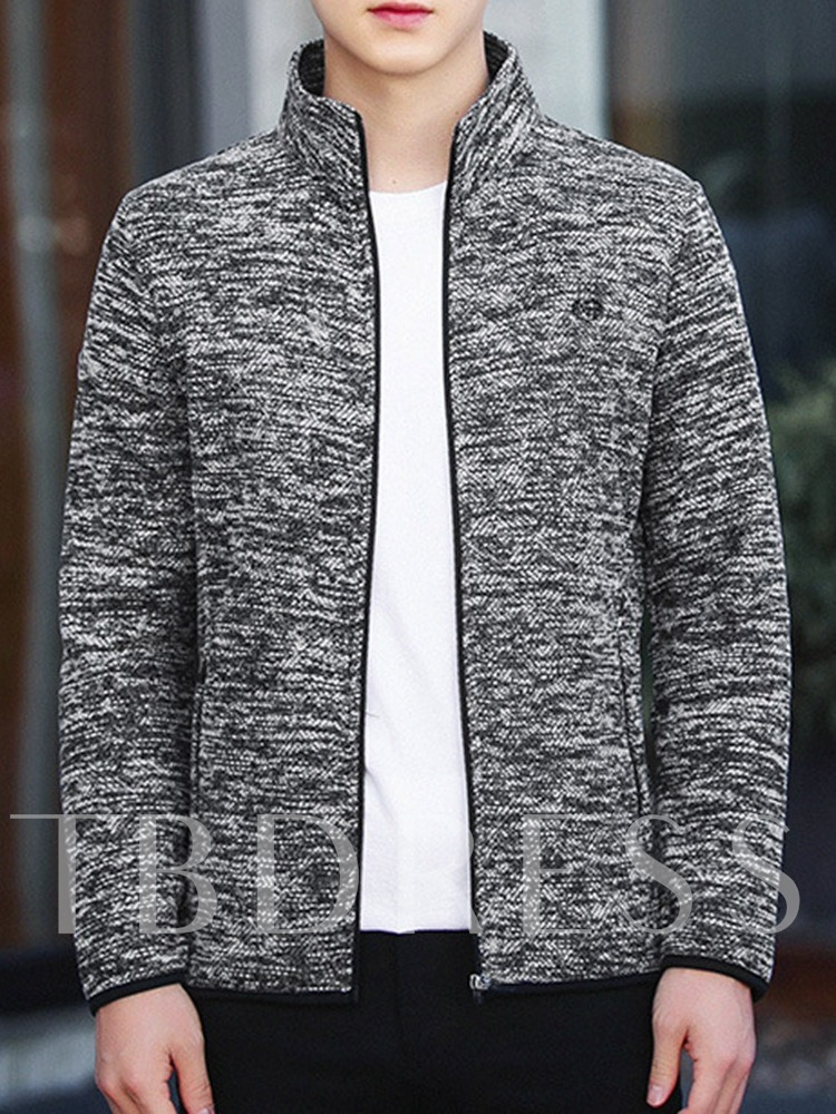 Zipper Cardigan Color Block Slim Men's Hoodies