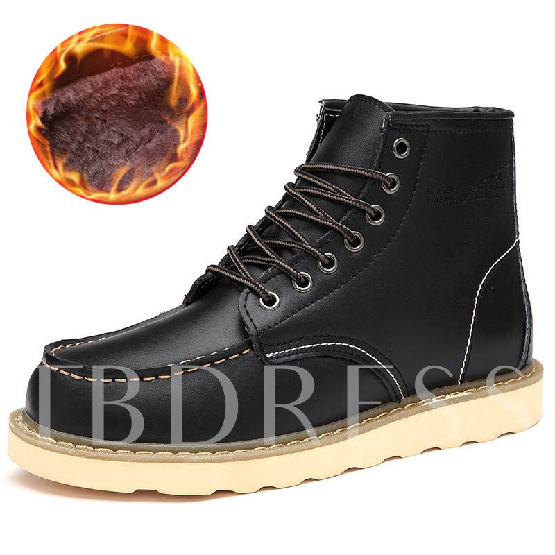Color Block Round Toe Lace-Up Front Men's Ankle Boots