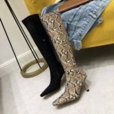 Patchwork Stiletto Heel Side Zipper Pointed Toe Knee High Boots