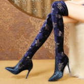 Customized Pointed Toe Slip-On Floral Stiletto Heel Thigh High Boots