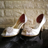 Pearls High Heel Peep-Toe Bridal Wedding Shoes