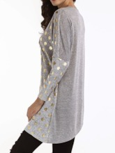 Round Neck Polka Dots Mid-Length Long Sleeve Fall Women's T-Shirt