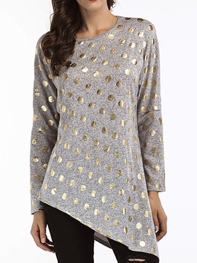 Round Neck Polka Dots Mid-Length Long Sleeve Fall Womens T-Shirt Round Neck Polka Dots Mid-Length Long Sleeve Fall Women's T-Shirt