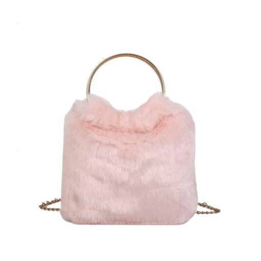 Thread Plain Barrel-Shaped Soft Fluff Tote Bags
