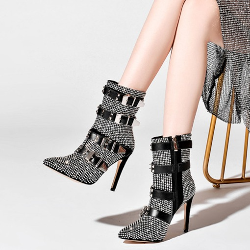 Customized Pointed Toe Side Zipper Stiletto Heel Rivet Ankle Boots