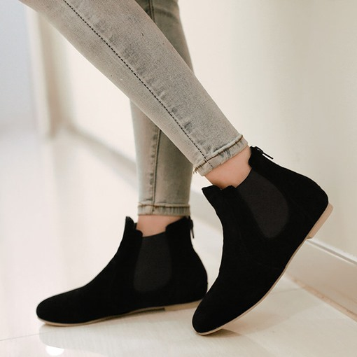 Plain Back Zip Block Heel Round Toe Flat Ankle Boots