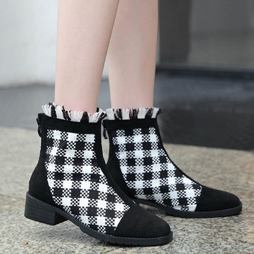 Plaid Back Zip Plaid Block Heel Round Toe Booties