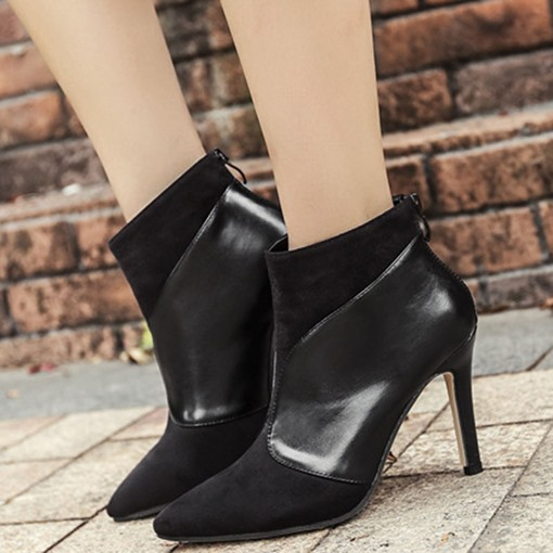 Pointed Toe Patchwork Stiletto Heel Back Zip Ankle Boots