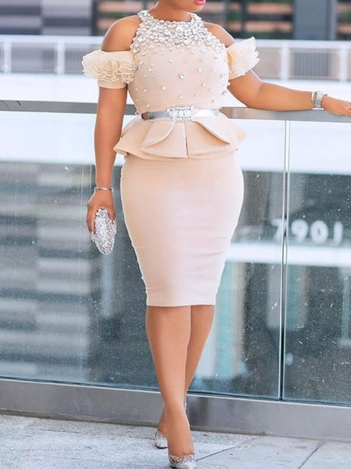 Plus Size Lace-Up Office Lady Round Neck Women's Two Piece Sets
