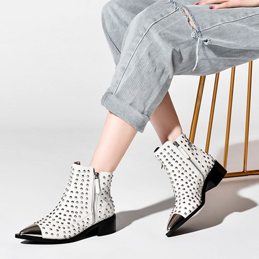 Customized Color Block Pointed Toe Side Zipper Rivet Boots