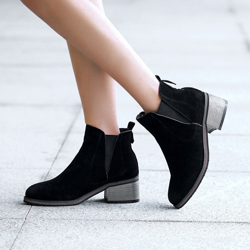 Round Toe Slip-On Chunky Heel Ankle Chelsea Boots