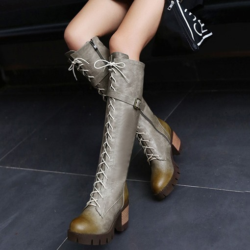Chunky Heel Plain Round Toe Side Zipper Knee High Boots