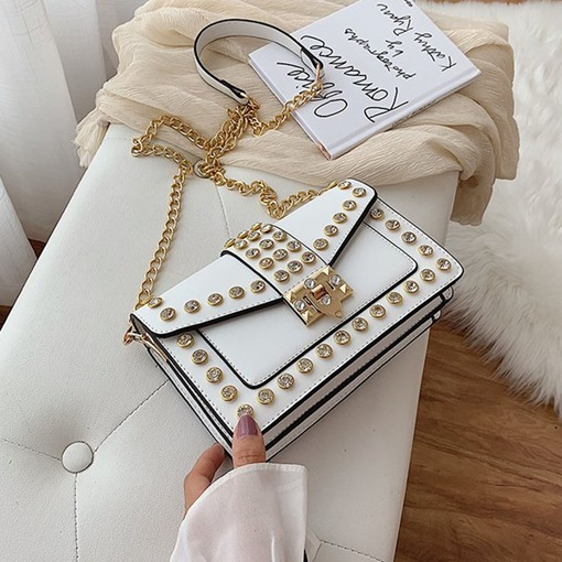 Plain Lock Rhinestone Rectangle Crossbody Bags