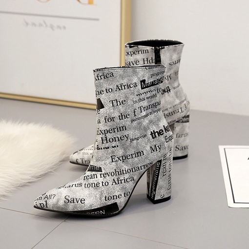 Letter Print Chunky Heel Side Zipper Pointed Toe Ankle Boots