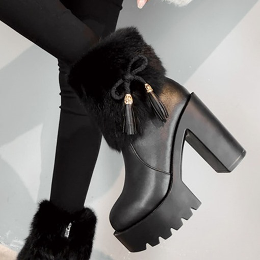 Round Toe Patchwork Side Zipper Chunky Heel Ankle Boots