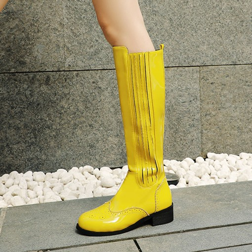 Side Zipper Patchwork Round Toe Block Heel Knee High Boots