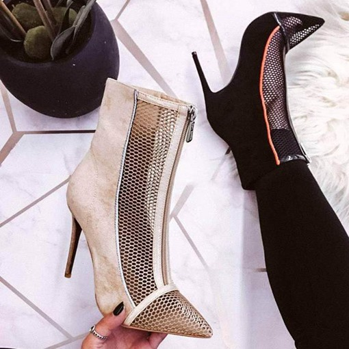 Patchwork Stiletto Heel Pointed Toe Front Zipper Mesh Boots
