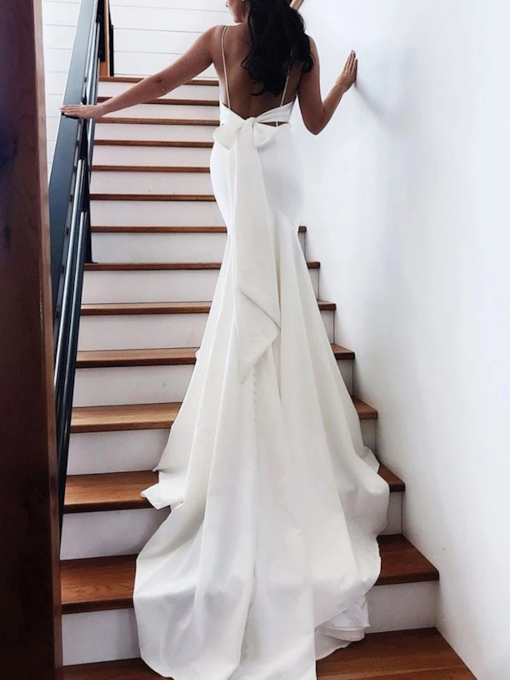 Spaghetti Straps Court Train Bowknot Backless Wedding Dress