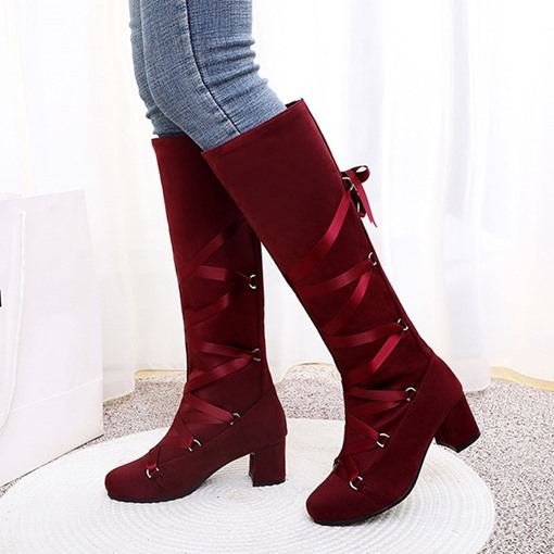 Chunky Heel Slip-On Round Toe Knee High Boots