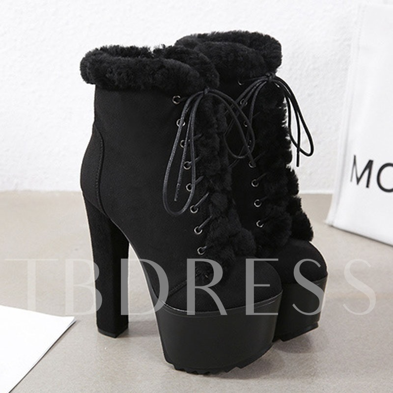 Platform Chunky Heel Round Toe Side Zipper Ankle Boots