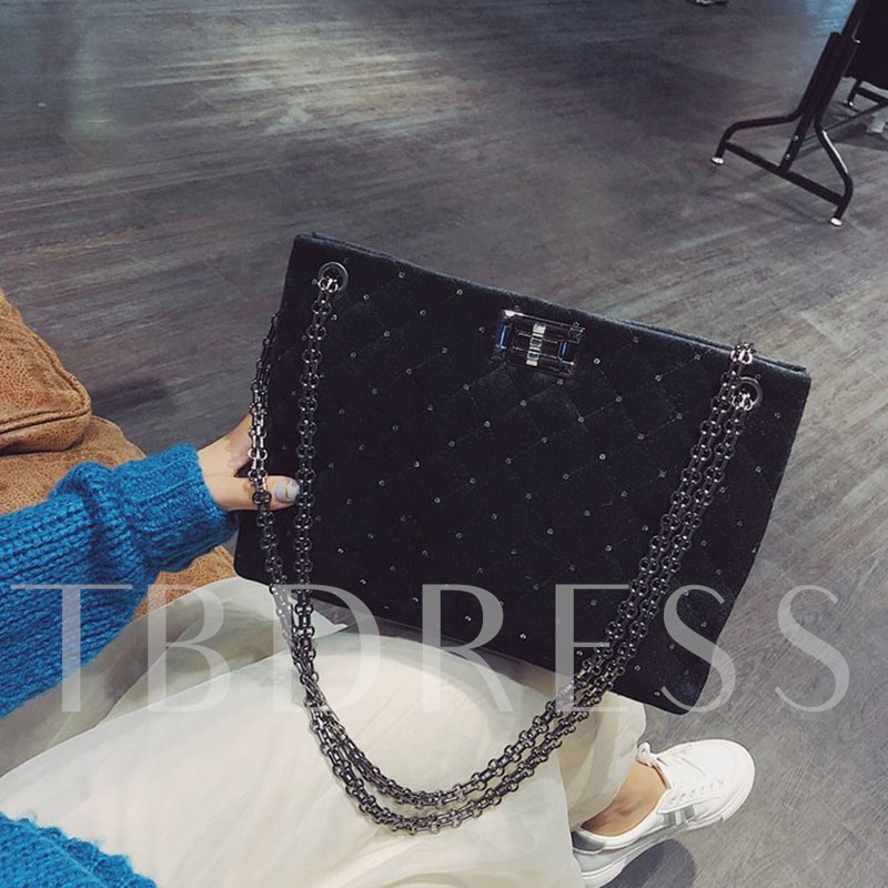 Rivet Quilted Lining Plaid Rectangle Shoulder Bags