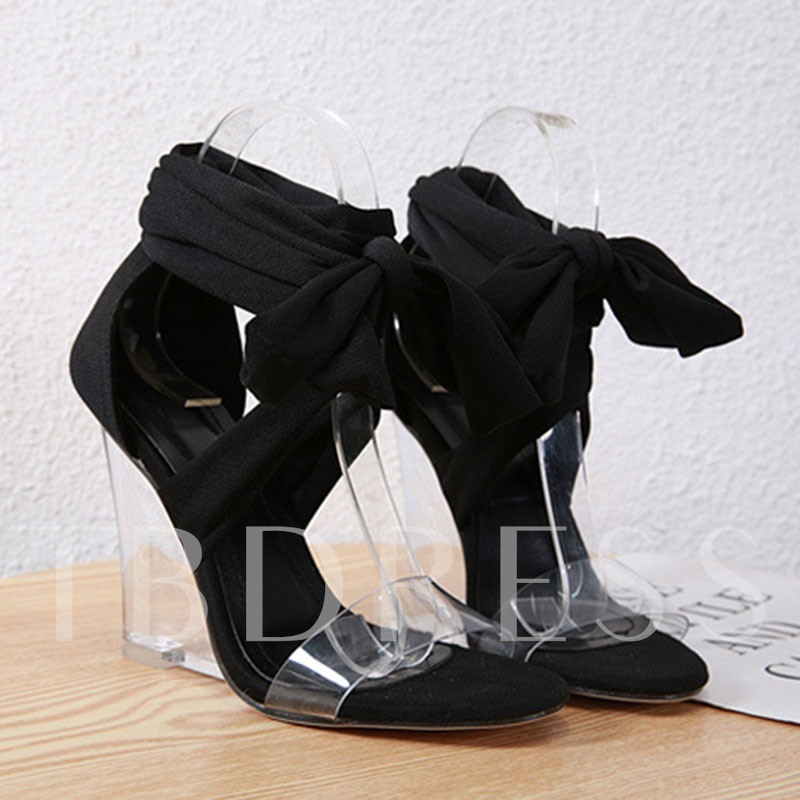 Heel Covering Open Toe Lace-Up Wedge Heel Women's Sandals