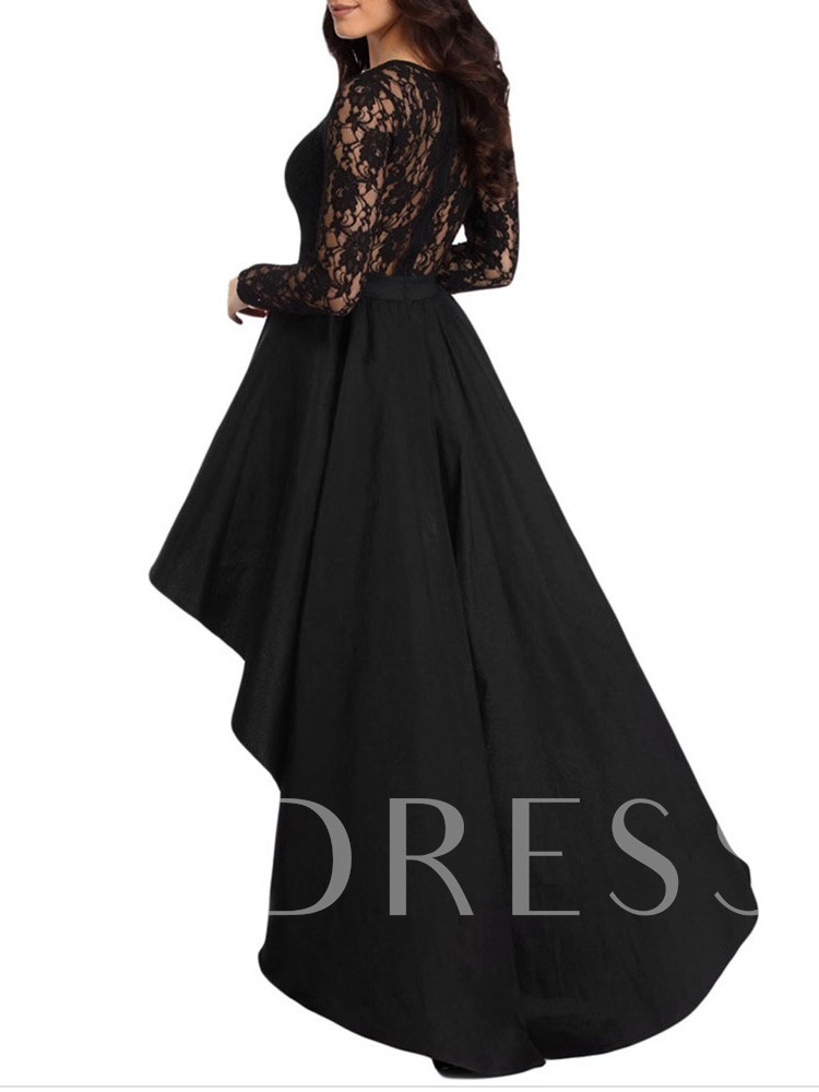 Long Sleeve Round Neck Floor-Length Asymmetric Regular Women's Dress