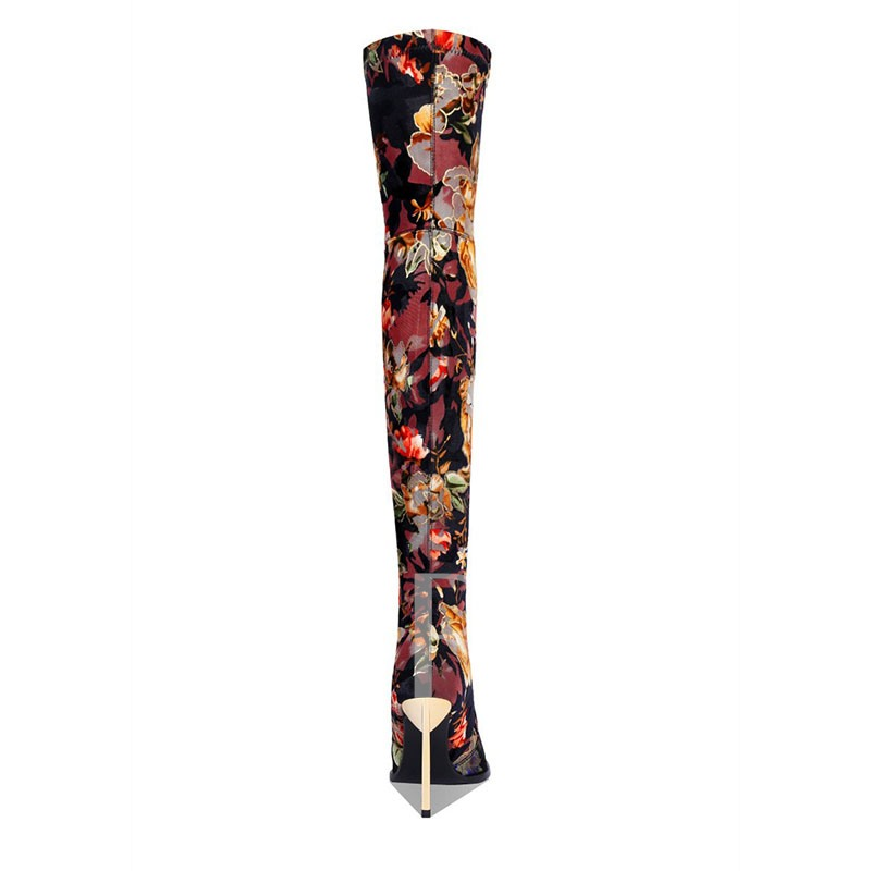 Customized Stiletto Heel Slip-On Floral Thigh High Boots