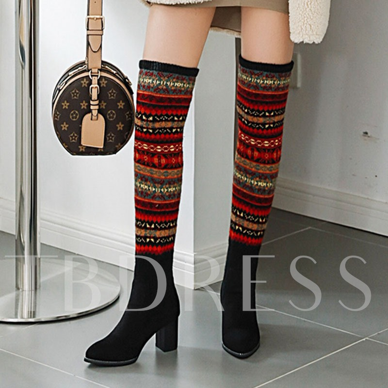 Chunky Heel Slip-On Color Block Pointed Toe Thigh High Boots