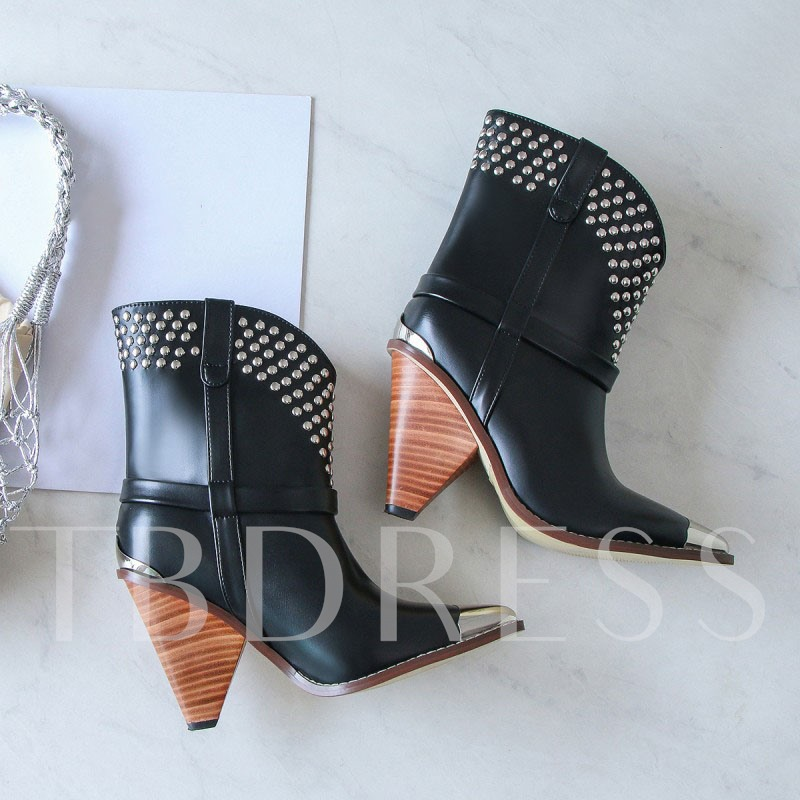 Chunky Heel Slip-On Pointed Toe Rivet Western Ankle Boots