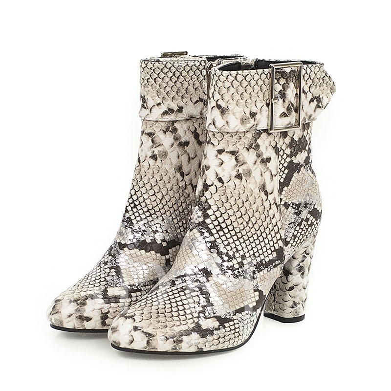 Side Zipper Chunky Heel Round Toe Serpentine Ankle Boots
