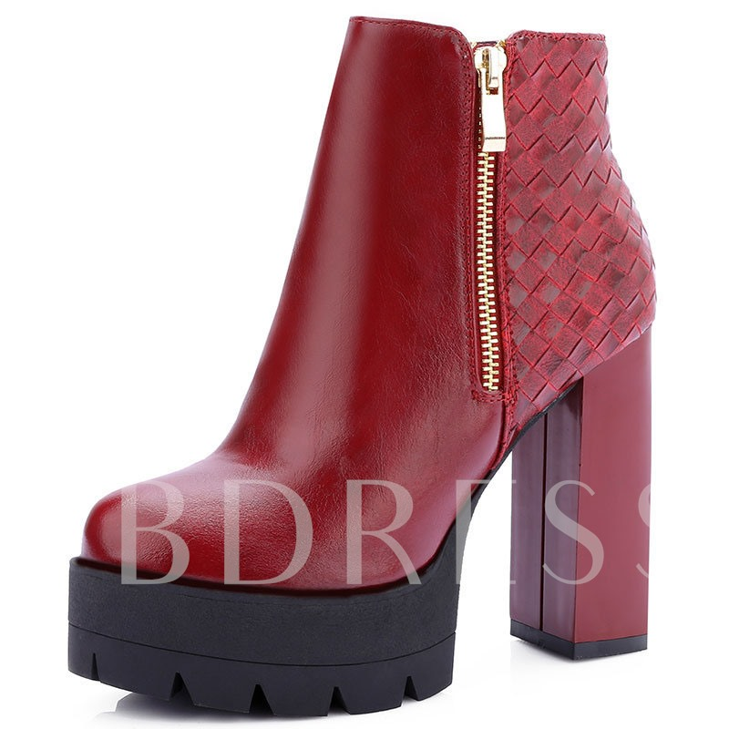 Chunky Heel Round Toe Side Zipper Platform Ankle Boots