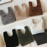 Fluffy Plain Rectangle Cute Tote Bags